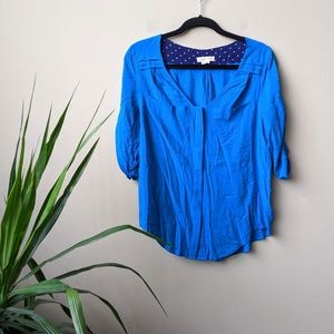 Edme & Esyllte Estrie Henley Button Down Blue Top